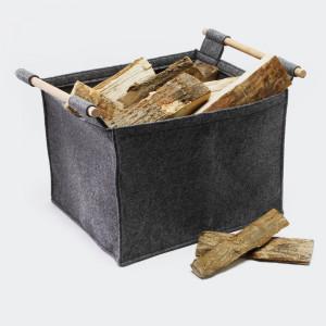 Vedkorg filt grå med trähandtag