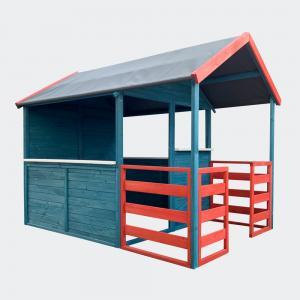 Lekstuga XL 146x195x156cm veranda röd/blå