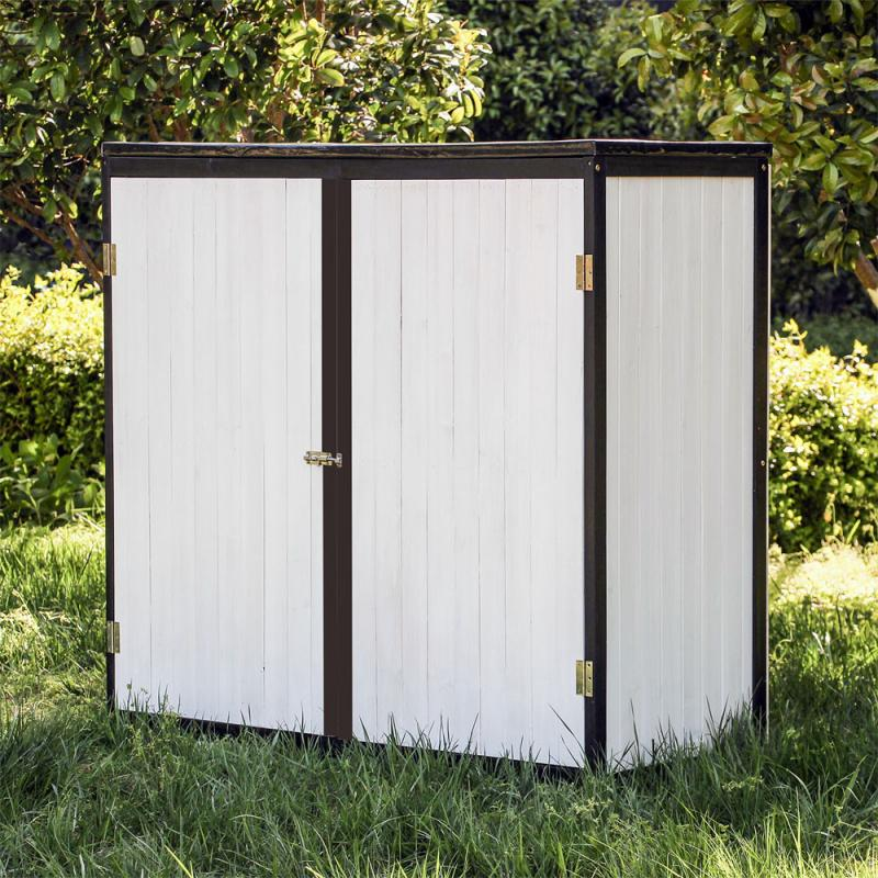 Trädgårdsskåp 2-dörrar trä vit antracit  136x58x127cm