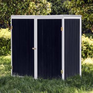 Trädgårdsskåp 2-dörrar trä antracit vit 136x58x127cm