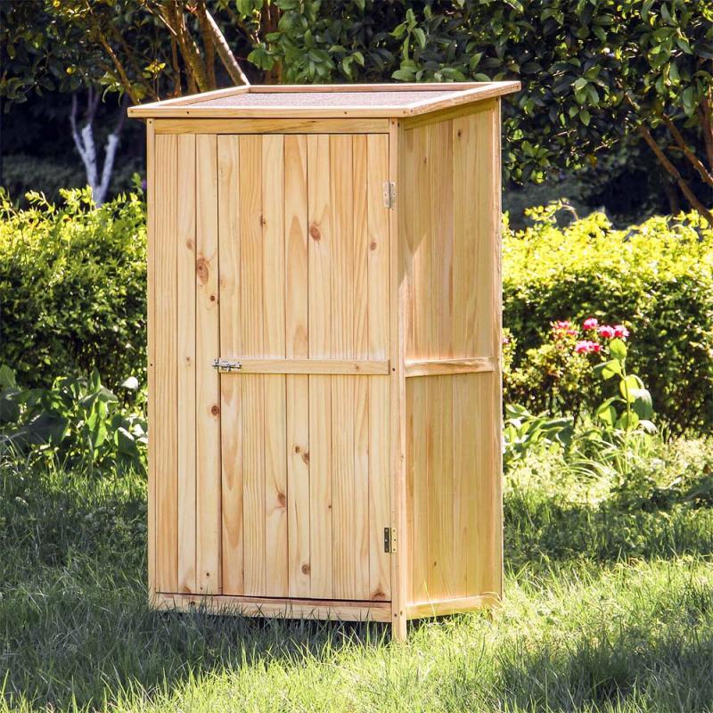 Trädgårdsskåp skjul 1-dörr trä natur
