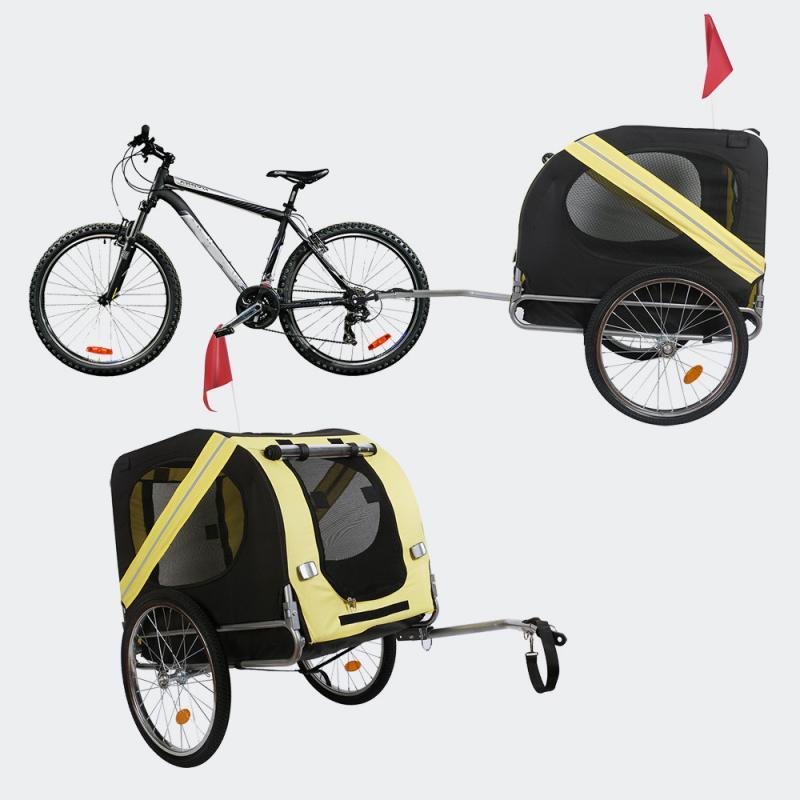 Hundcykelvagn med flugskärm & regnskydd, svartgul