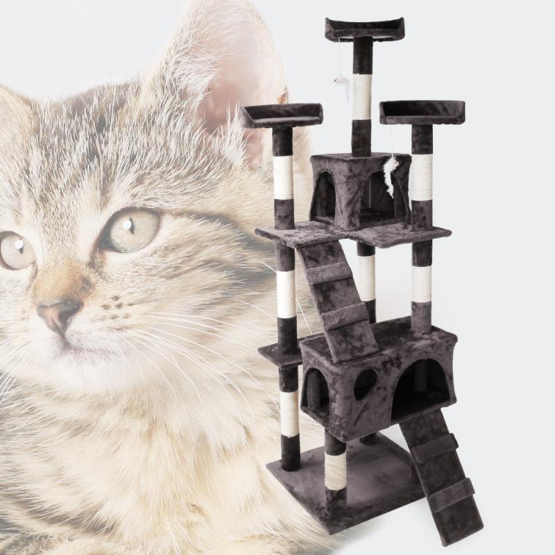 Katt klösträd 170cm med hus, steg och plattform