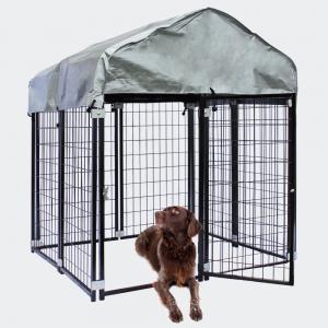 Hundhage med tak 121x121x137cm Outdoor Hundkoja ur stål