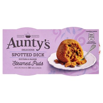 Auntys Spotted Dick Steamed Puds 2pk