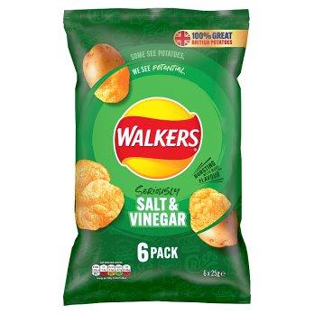 Walkers Salt & Vinegar Crisps 6pk