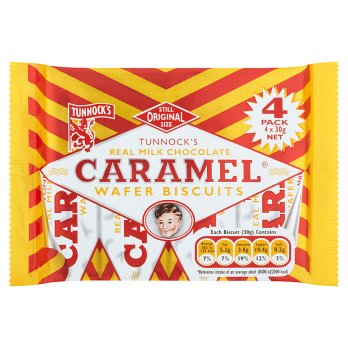 Tunnocks Caramel Wafer Biscuits 4pk