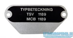 Typskylt MCB 1189
