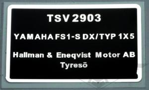 Typskylt Yamaha FS1DX 77-79