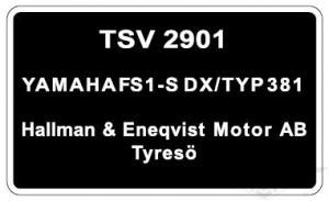 Typskylt Yamaha FS1-S DX/Typ 381