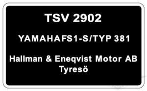 Typskylt Yamaha FS1-S/Typ 381