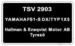 Typskylt Yamaha FS1-S DX/Typ 1X5