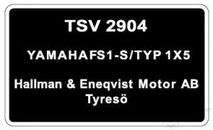 Typskylt Yamaha FS1-S/Typ 1X5