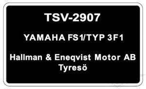 Typskylt Yamaha FS1/Typ 3F1