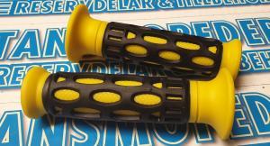 Gummihandtag svart/gul 22/24mm 1 par Universal