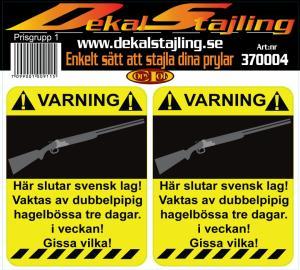 Dekaler varning svensk lag 1 par