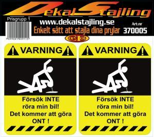 Dekaler varning bil 1 par