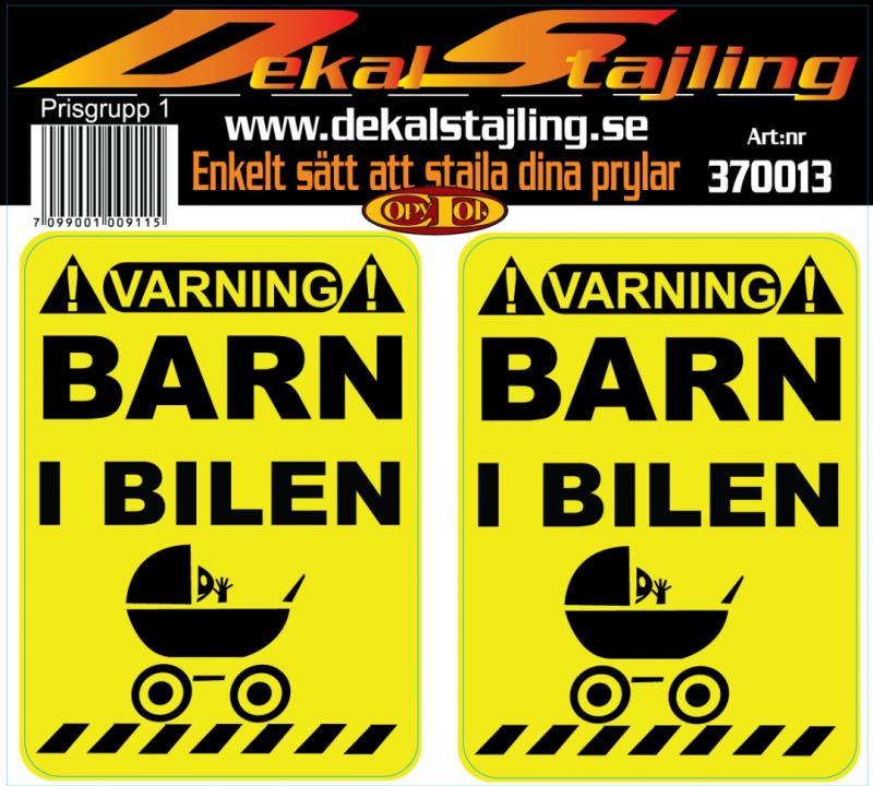 Dekaler varning barn i bilen 1 par