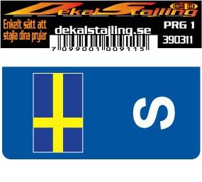 Dekal regplåt flagga S