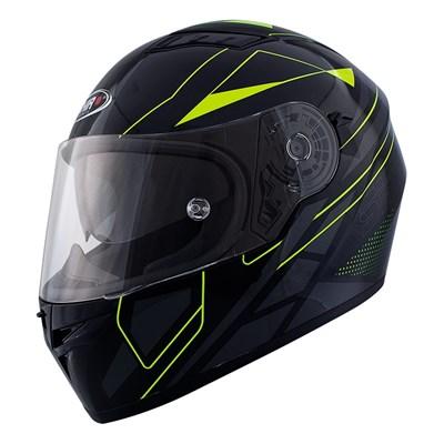 Snygg sportig Shiro SH600 Elite integralhjälm i svart och gult. Aerodynamisk struktur med in inre solvisir.