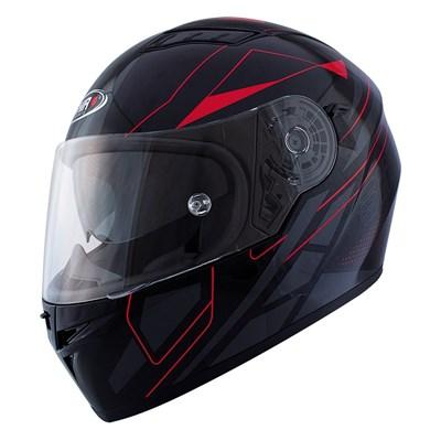Snygg sportig Shiro SH600 Elite integralhjälm i svart och röd. Aerodynamisk struktur med in inre solvisir.