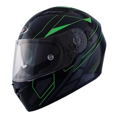 Snygg sportig Shiro SH600 Elite integralhjälm i svart och grön. Aerodynamisk struktur med in inre solvisir.