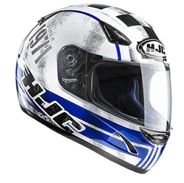 Sportig Integralhjälm i färgerna blå, vit och svart med UV-skyddat visir. Tillverkad i Polycabonat med antifog visir och snabbspänne
