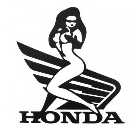 Dekal Honda wings woman svart 140x155mm
