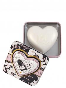 Heart Shaped Soap in tin Evening Jasmine 150g