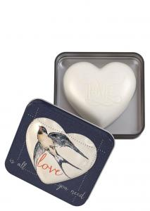 Heart Shaped Soap in tin Love (Strawberry Papaya) 150g