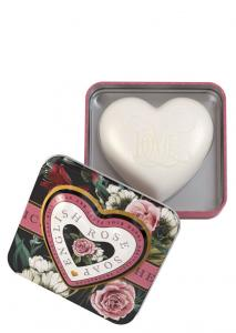 Heart Shaped Soap in tin English Rose 150g