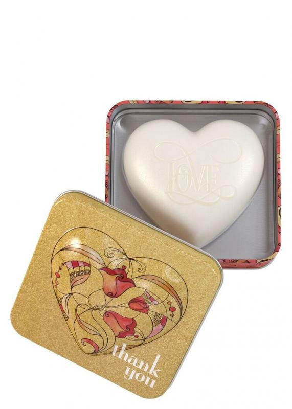 Heart Shaped Soap in tin Thank you (Strawberry Papaya) 150g