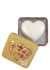 Heart Shaped Soap in tin Thank you (Strawberry Papaya) 150g
