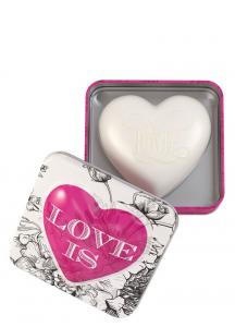 Heart Shaped soap in tin Love is (Rose Petal) 150g