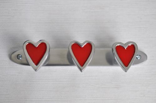 3-hängare Hjärta röd