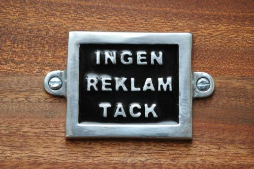 INGEN REKLAM TACK - svart - med skruvhål