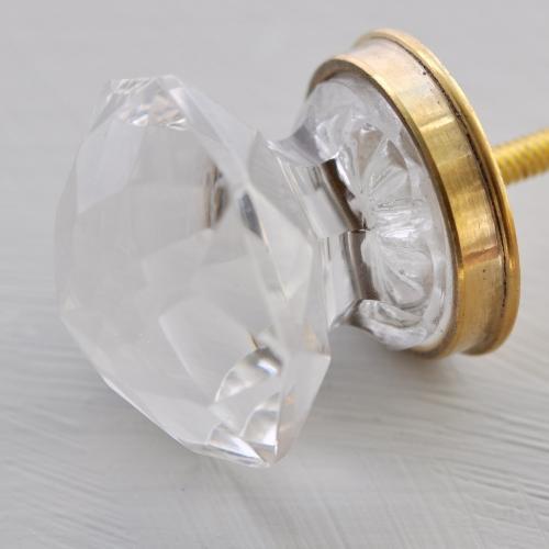 """Glasknopp - """"Diamant"""" - Klar - Guld - M"""