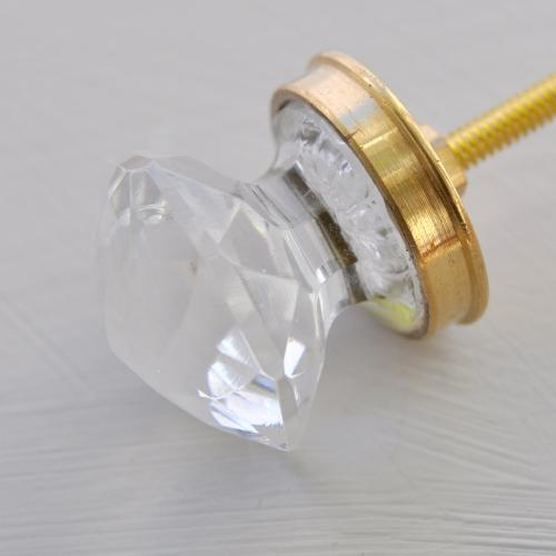 """Glasknopp - """"Diamant"""" - Klar - Guld - S"""