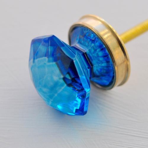 """Glasknopp - """"Diamant"""" - Blå - Guld - S"""