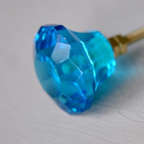 Glasknopp - rund - blå - M