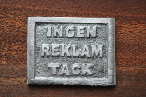INGEN REKLAM TACK - förnicklad mässing