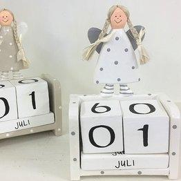 Ängel & Kalender I Trä Vit
