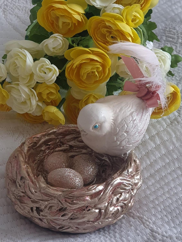 Fågel Med Fågelbo & Ägg