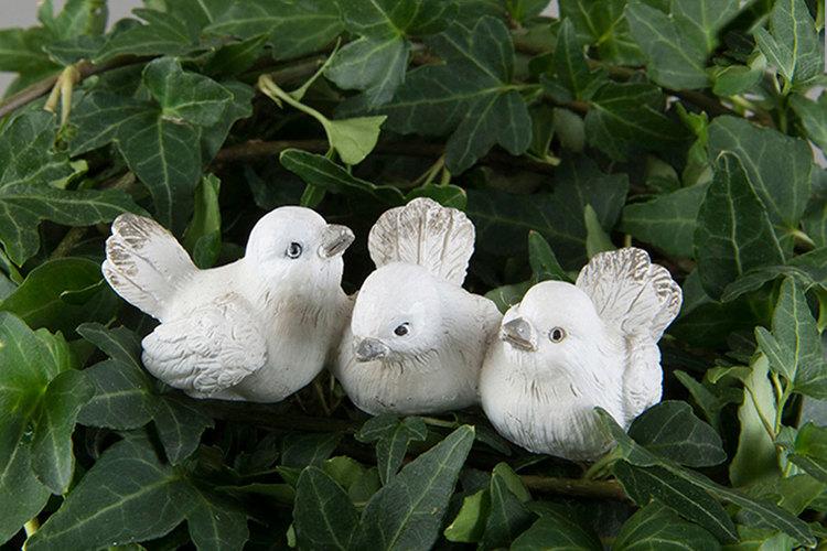 Fåglar Stick Vit/Grå