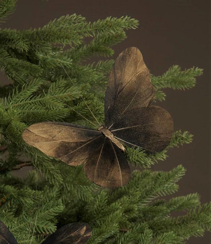 Fjäril Med Clip Guldbrun 20Cm