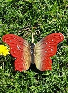 Fjäril I Plåt Röd
