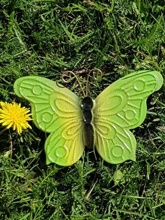 Fjäril I Plåt Grön
