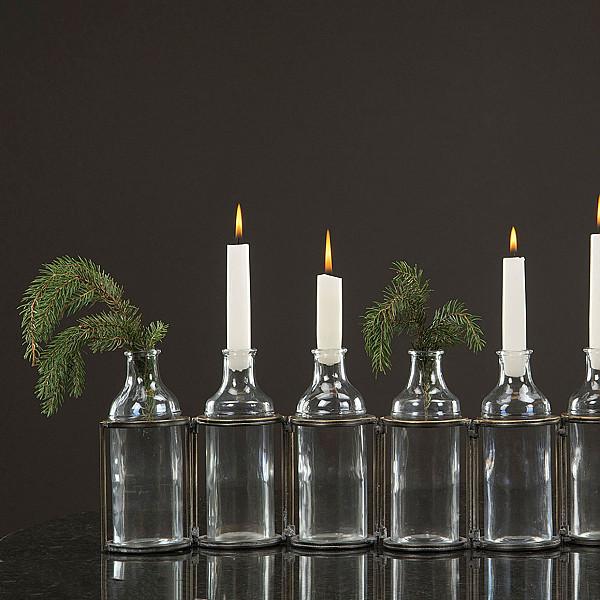 Flaskor med ställning - Antik Mässing