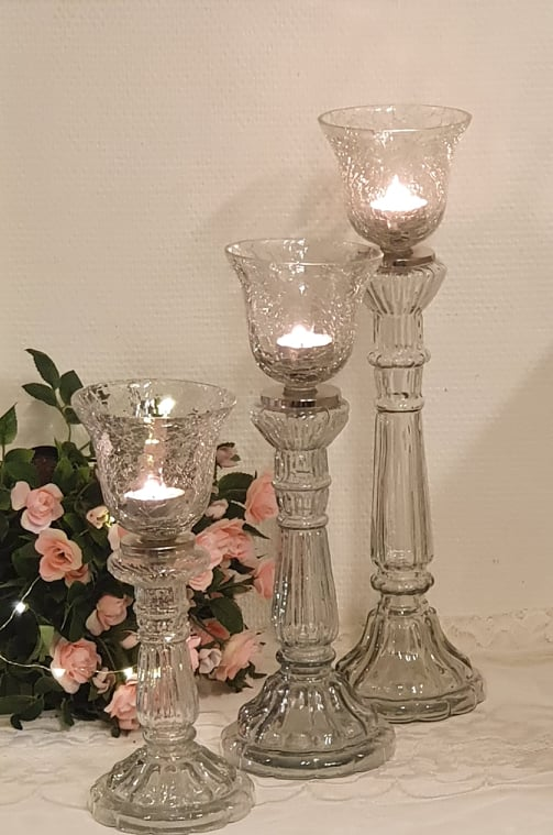 Glas Ljusstake Medium 2-Set