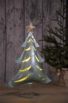JulGran I Hamrad Plåt Med Ljusslinga